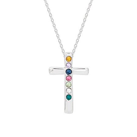 7 Birthstone Custom Swarovski Cross Necklace