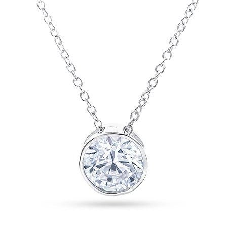 Designer Style Sterling Silver Necklace with Bezel Set CZ | Eve's Addiction®