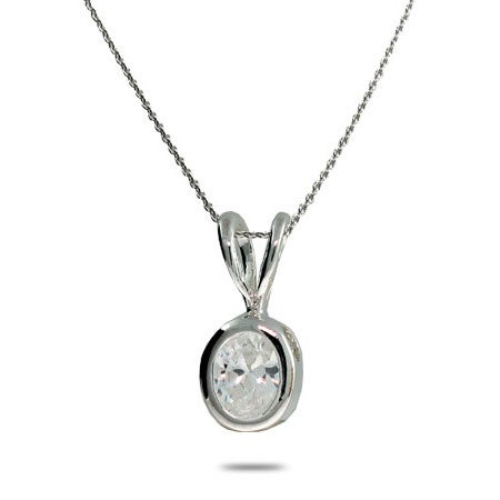 Bezel Set Diamond CZ Silver Necklace