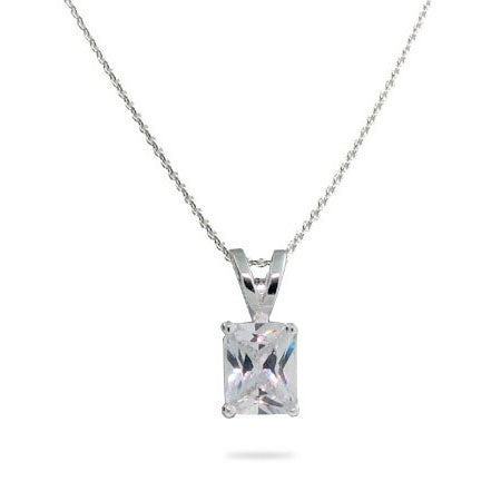 Solitaire Emerald Cut CZ Sterling Silver Necklace
