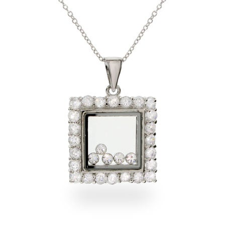 Designer Inspired Floating Diamond CZ Square Pendant