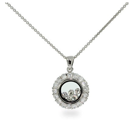 Floating Diamond CZ Circle Necklace