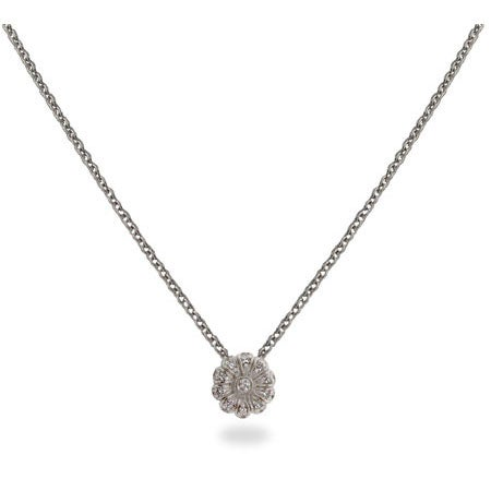 Sterling Silver CZ Rose Charm Necklace | Eve's Addiction®