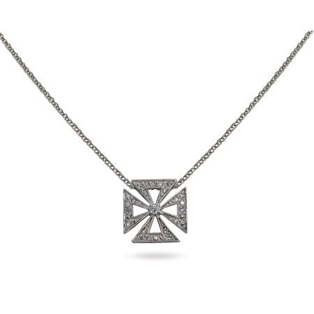 Designer Style CZ Maltese Cross Pendant | Eve's Addiction