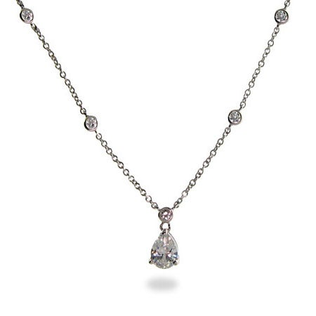 Dangling Tear Drop Diamond CZ Studded Chain