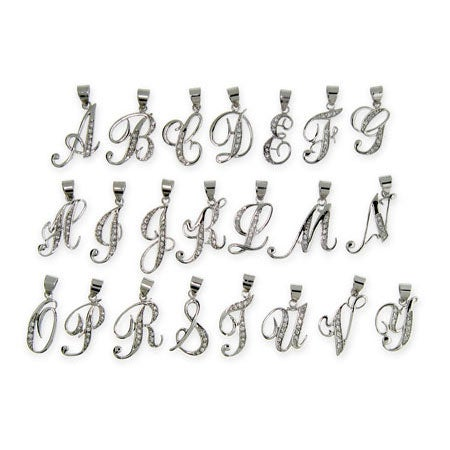 Sterling Silver CZ Cursive Initial Necklace | Eve's Addiction