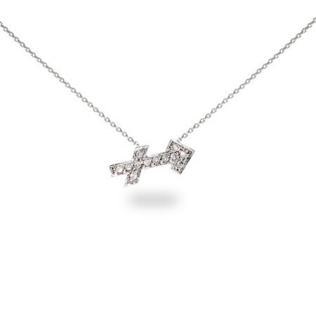Sterling Silver and CZ Sagittarius Zodiac Necklace