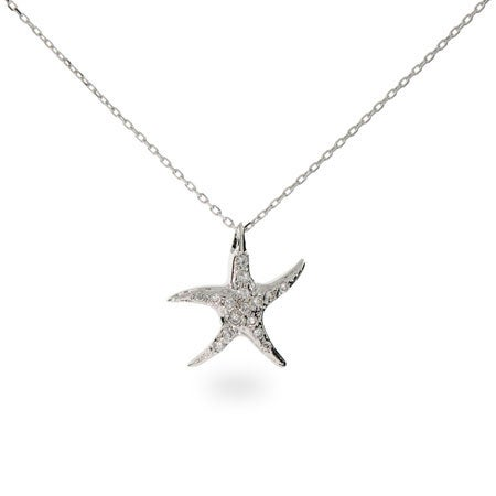 Sterling Silver CZ Starfish Pendant | Eve's Addiction®