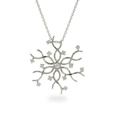 Elegant Silver and CZ Snowflake Pendant