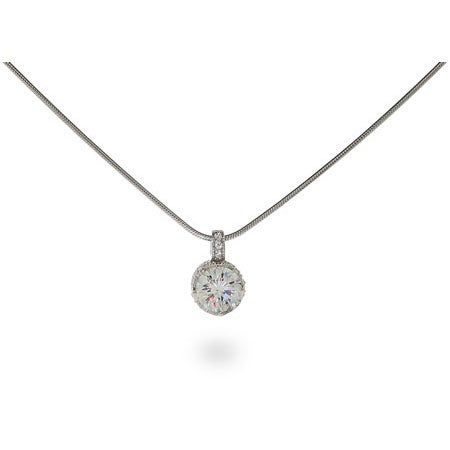 Crown Set Diamond Star Cut CZ Solitaire Necklace