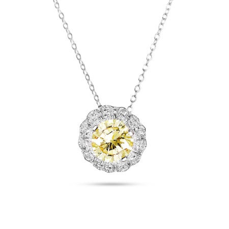 Elegant Canary and Diamond CZ Flower Pendant