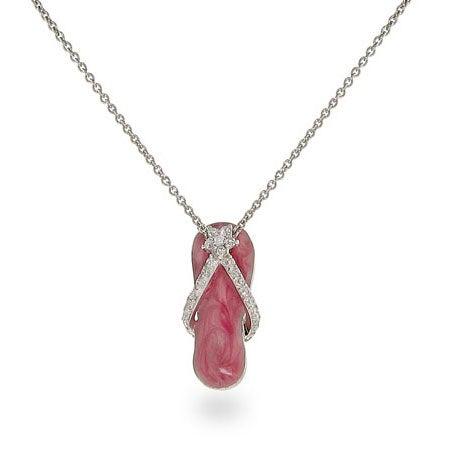 Pink Enamel Flip Flop Sandal Necklace