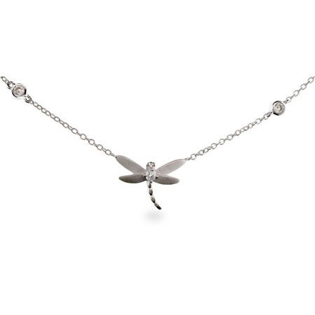 Designer Style Dragonfly Necklace on Bezel Chain