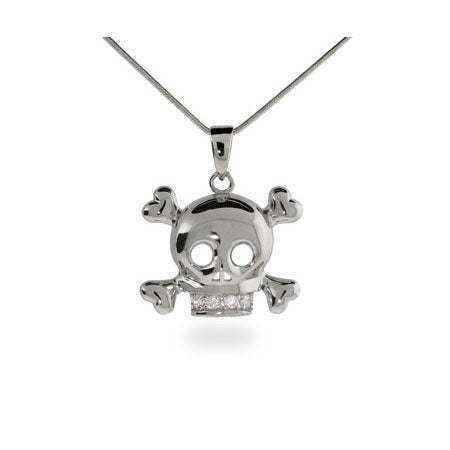 CZ Skull & Crossbones Sterling Silver Necklace