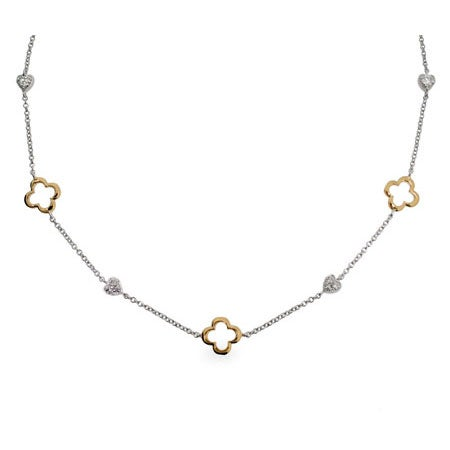 Designer Inspired Gold & Silver Four Petal & Hearts Necklace
