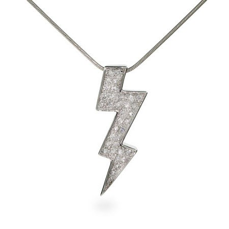 Flashy CZ Lightning Bolt Sterling Silver Necklace