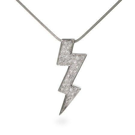 Flashy CZ Lightning Bolt Sterling Silver Necklace