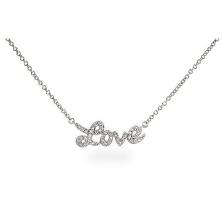 Sterling Silver Cursive Love CZ Necklace