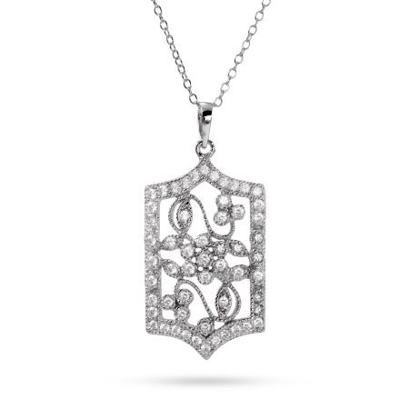 CZ Floral Design Victorian Necklace