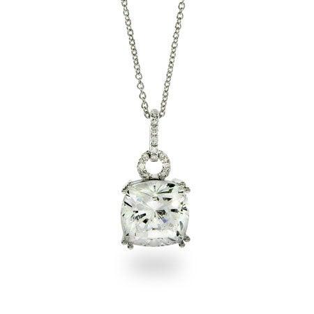 Dazzling Sterling Silver Princess Cut CZ Pendant