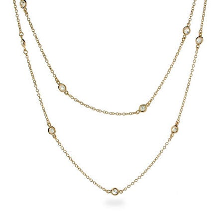 "36"" CZ Studded Chain Gold Vermeil Necklace 