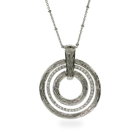 Three Carved CZ Circle Necklace