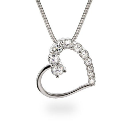 Silver Diamond CZ Heart Journey Necklace