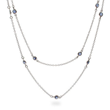 36 Inch Sparkling Sapphire CZ Studded Chain | Eve's Addiction®