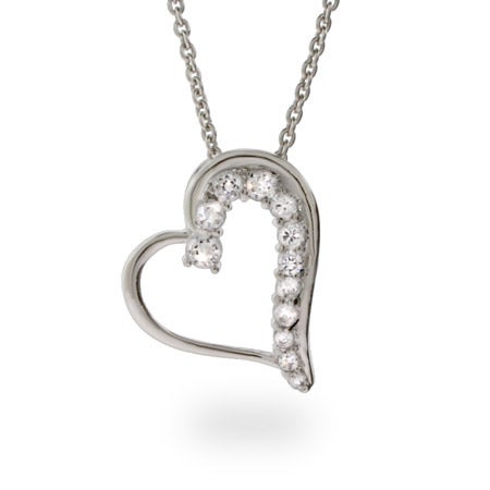 Diamond CZ Journey Stencil Heart Necklace