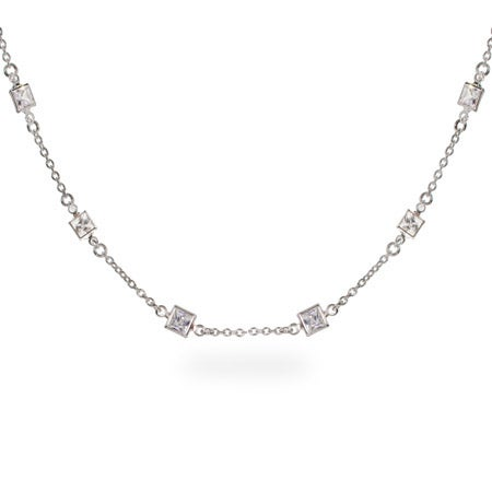 Dazzling Princess Cut CZ Studded Chain Necklace