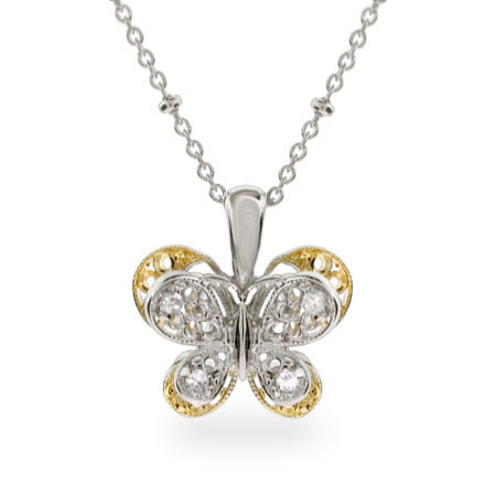 Vintage Style Silver & Gold Butterfly Necklace
