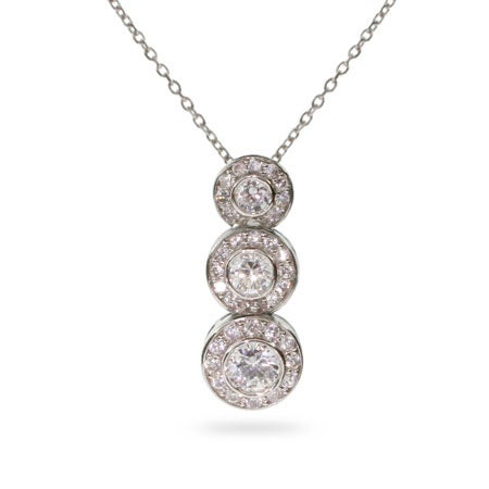 CZ Circlet Drop Sterling Silver Necklace
