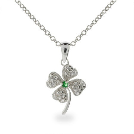 Green CZ Four Leaf Clover Necklace