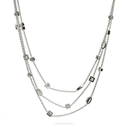 Designer Style Three Strand Layered CZ Sway Necklace