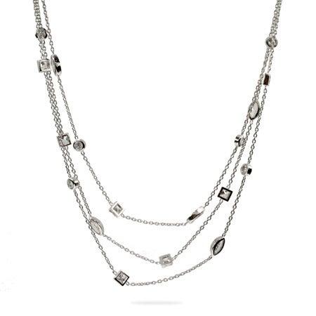 Designer Style Three Strand Layered CZ Sway Necklace