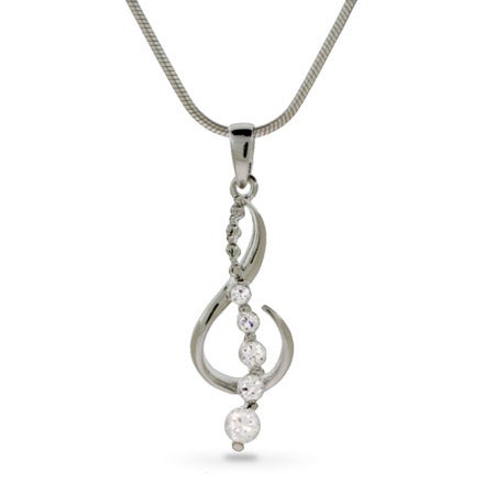 Musical G Clef CZ Silver Journey Pendant