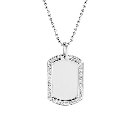 CZ Edged Silver Dog Tag Necklace
