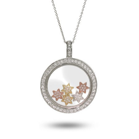 Designer Inspired Floating CZ Stars Circle Necklace