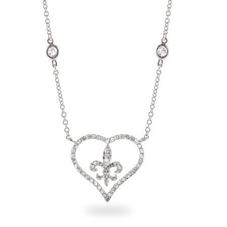 Diamond CZ Heart with Fleur de Lis Necklace