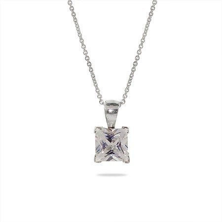 Solitaire Sparkling Princess Cut CZ Silver Necklace
