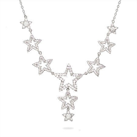 Designer Style CZ Stars Drop Sterling Silver Necklace | Eve's Addiction