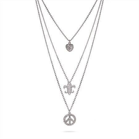 Fleur De Lis, Heart, and Peace Sign Triple Charm Necklace