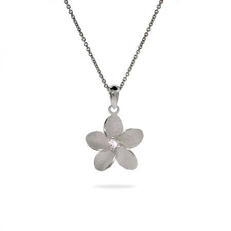 Sterling Silver Plumeria Flower Necklace