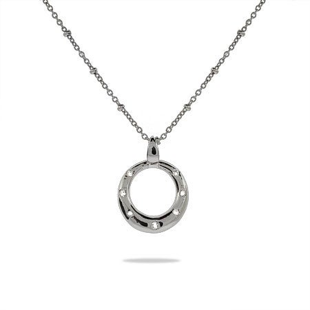 Designer Style Sterling Silver Twinkling O Pendant