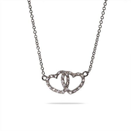 Designer Style Cubic Zirconia Joined Hearts Necklace | Eve's Addiction®