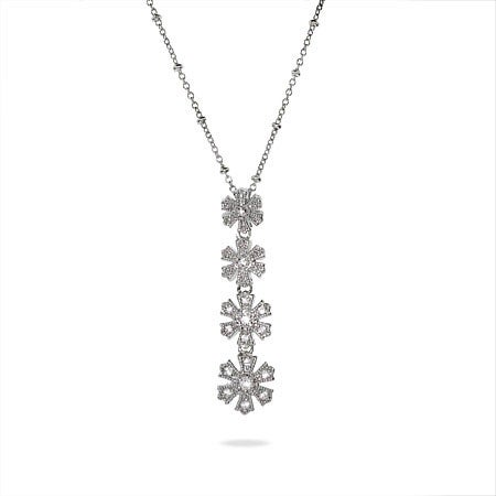 Silver CZ Journey Snowflake Necklace