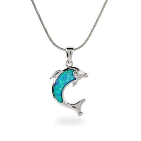 Genuine Opal and Sterling Silver Dolphin Pendant