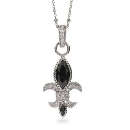 Black Onyx and CZ Fleur de Lis Necklace