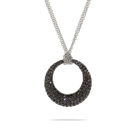 Tiffany Style Black Pave CZ Double Strand O Necklace