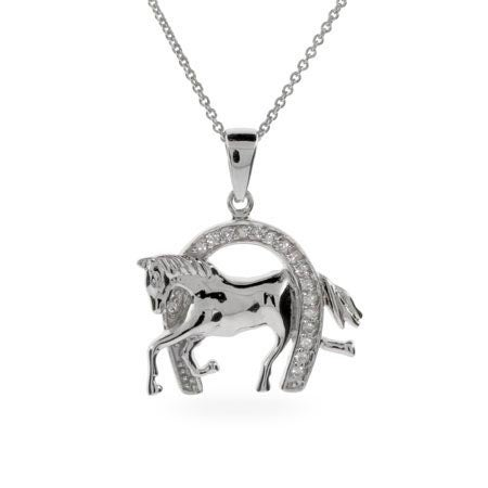 Designer Inspired CZ Equestrian Horseshoe Necklace